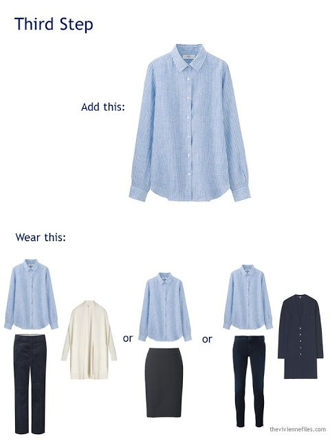 buying a light blue shirt to add to a travel capsule wardrobe