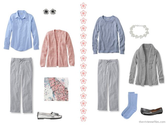 two travel outfits in grey, peach and light blue, with grey sweatpants