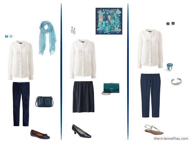 3 ways to wear a cream blouse with navy