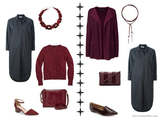 How to accessorize a grey dress with bright red or deeper burgundy
