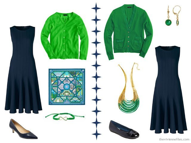 2 ways to wear a navy dress with green accessories