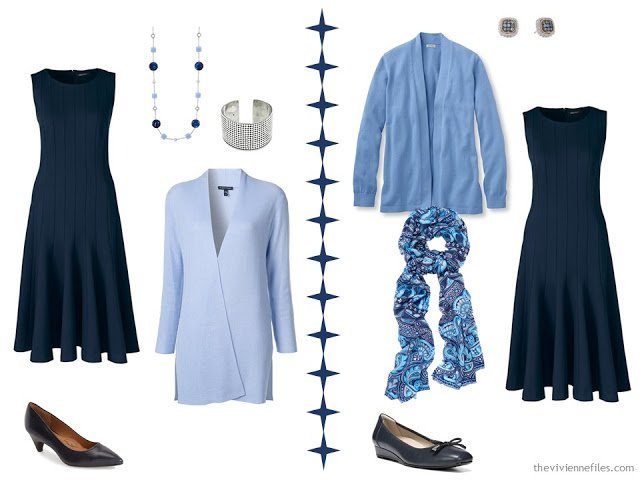 Two ways to wear a navy dress with light blue