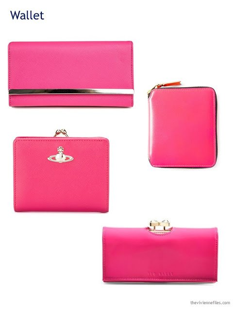 four hot pink wallets