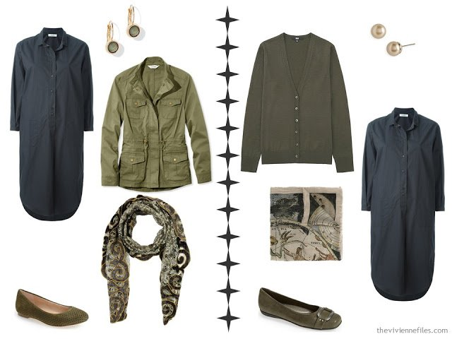 How to accessorize a grey dress with shades of olive green