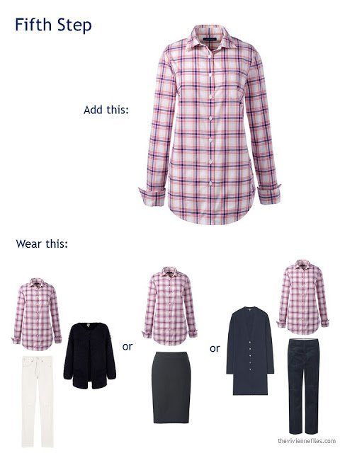 adding a pink plaid shirt to a travel capsule wardrobe