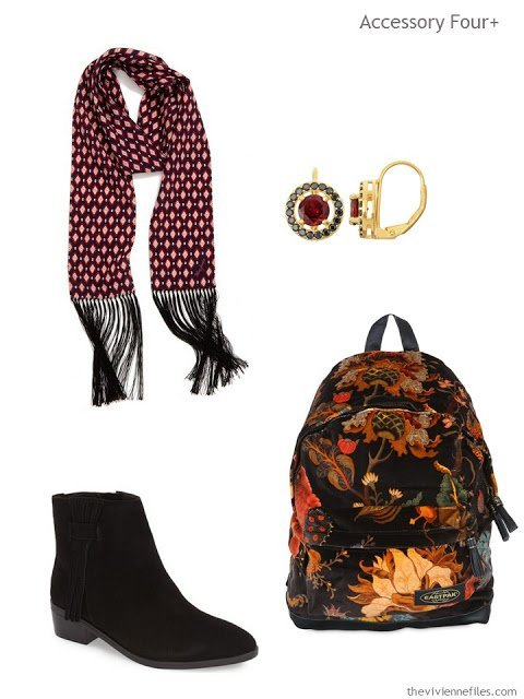 four accessories - scarf, earrings, boots and backpack - with qualities of textures and depth of color
