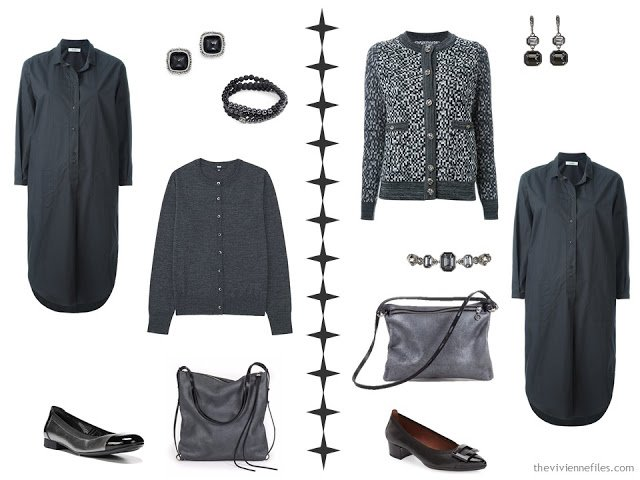 How to accessorize a grey dress with shades of grey accessories