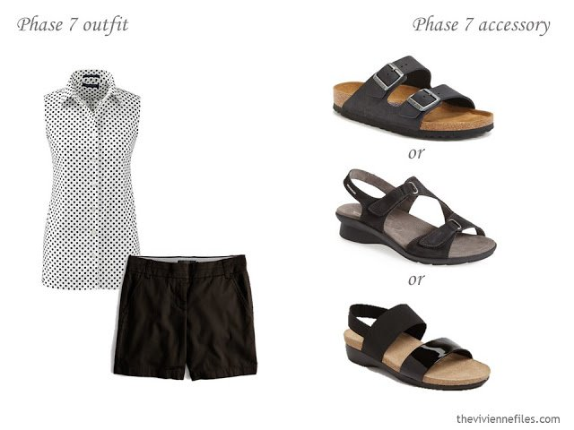 three choices of sandals to wear with a simple summer outfit