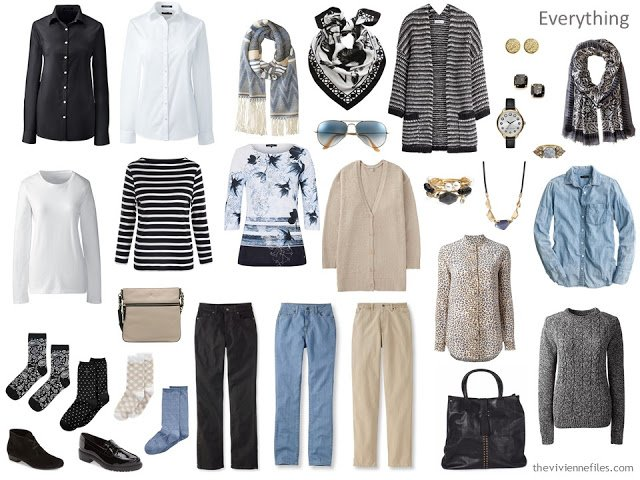 a travel capsule wardrobe in black, white, beige and denim blue