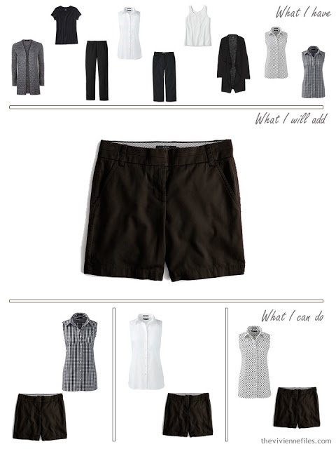 add a pair of black shorts to a travel capsule wardrobe