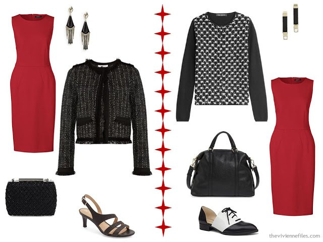 How to wear a red dress with a black and white jacket or cardigan