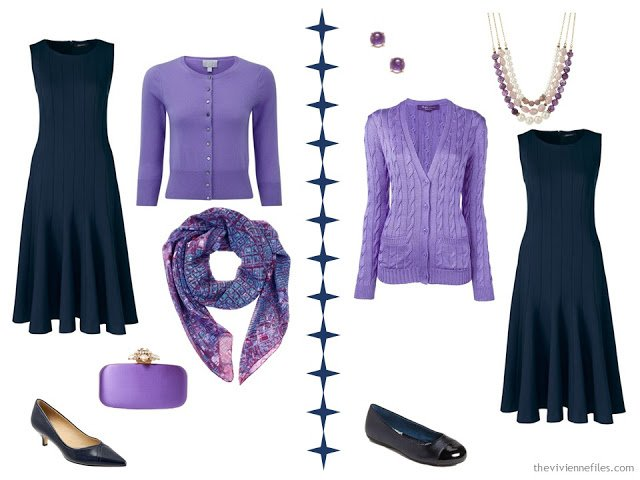 2 ways to wear a navy dress with purple accessories