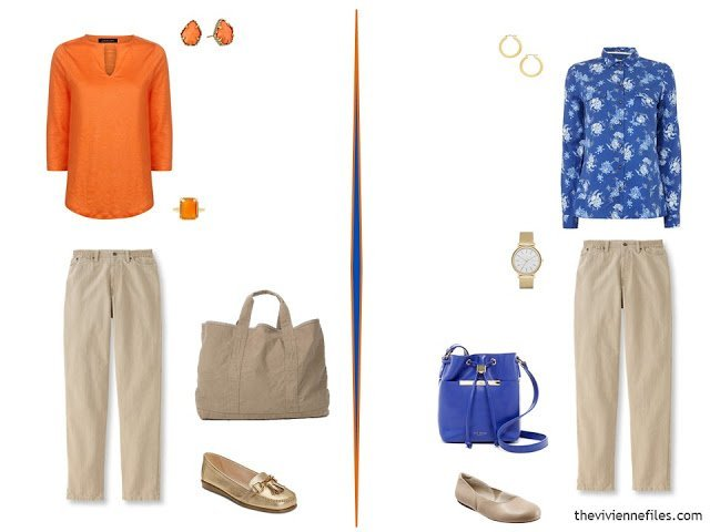 two outfits using beige jeans and bright blue and orange tops