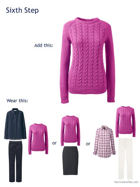 add a hot pink cabled sweater to a travel capsule wardrobe