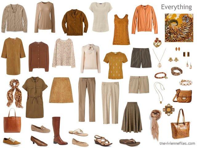 Capsule wardrobe in rust, beige, ivory and brown