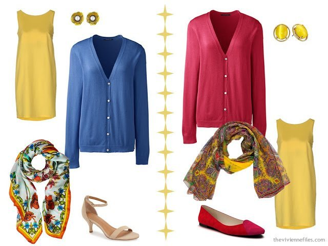 Two ways to wear a yellow dress with bright colors