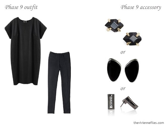 three choices of black earrings to wear with a simple summer outfit