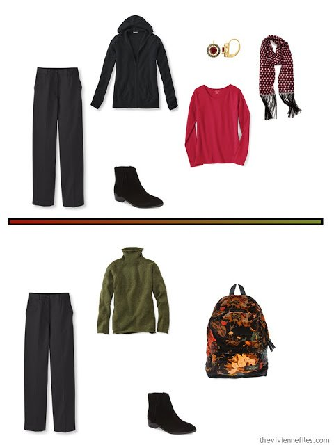 2 outfits for cool weather, including black pants