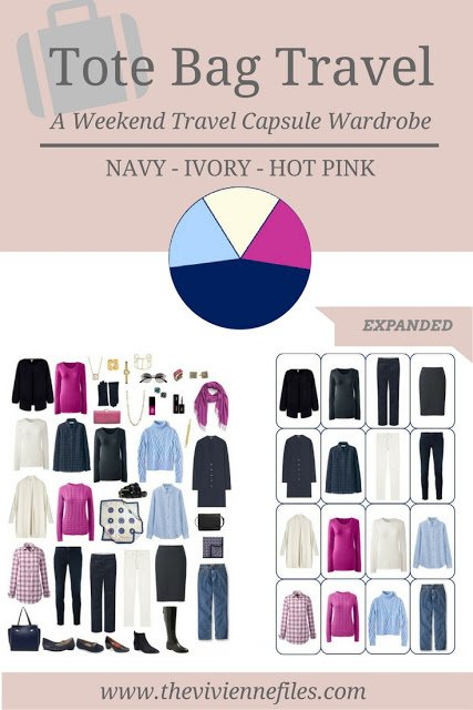 A travel capsule wardrobe with accessories expanded in a navy blue, ivory, and hot pink color palette