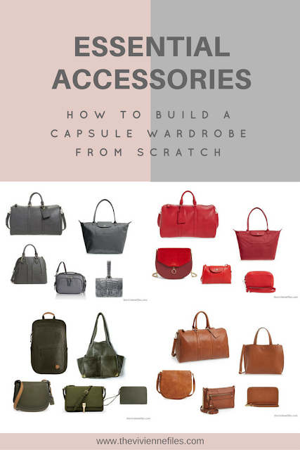 How to add essential accessories to a capsule wardrobe - building a wardrobe of bags and purses.