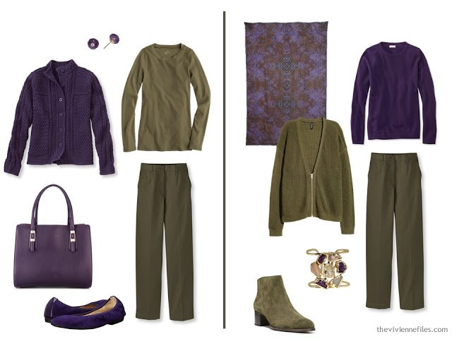 Capsule wardrobe colour palette inspiration - a pinch of plum with olive