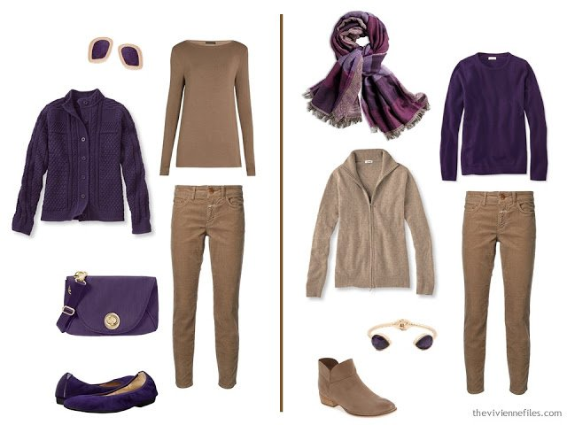 Capsule wardrobe colour palette inspiration - a pinch of plum with beige