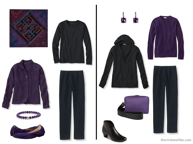Capsule wardrobe colour palette inspiration - a pinch of plum with black