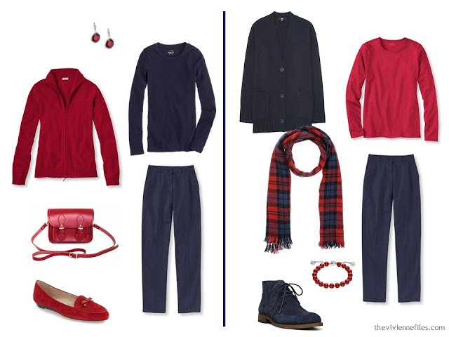 How to wear a soupcon of scarlet red in the capsule wardrobe
