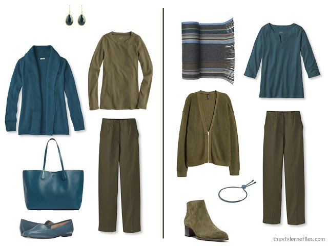 using teal as an accent to an olive green outfit