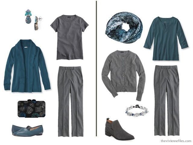 How to wear teal with grey