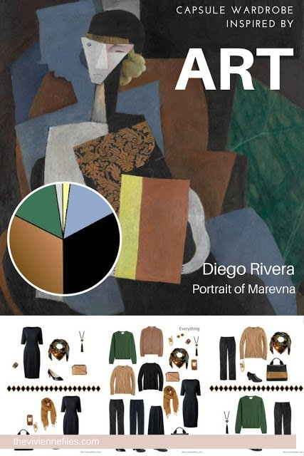 A travel capsule wardrobe in a blue, camel, green, and black color palette inspired by art