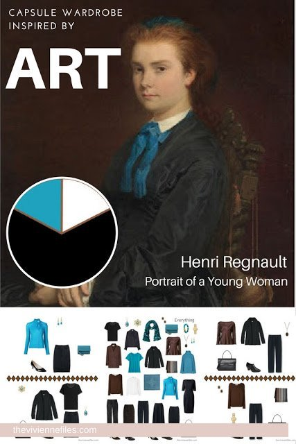Travel capsule wardrobe in a blue, black, and white color palette inspired by art - Portrait of a Young Woman by Henri Regnault - version 2