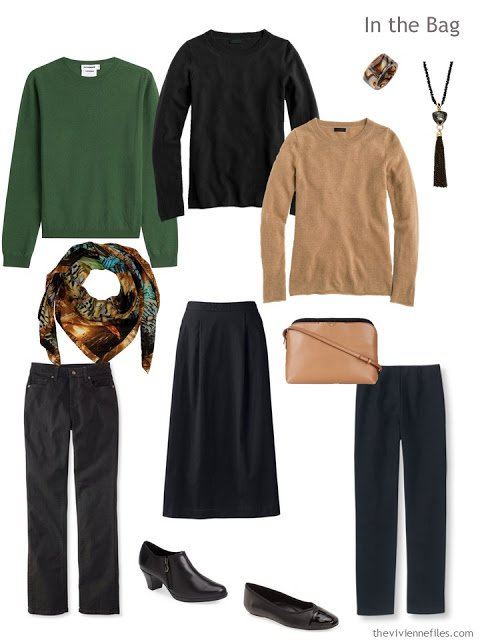six-pack travel capsule wardrobe in green, camel and black