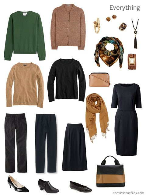 eight piece travel capsule wardrobe in green, black and camel