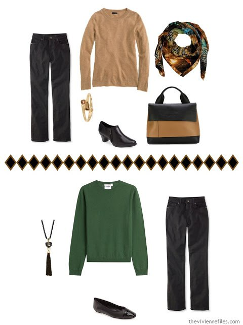 black jeans worn with a camel sweater, and with a green sweater