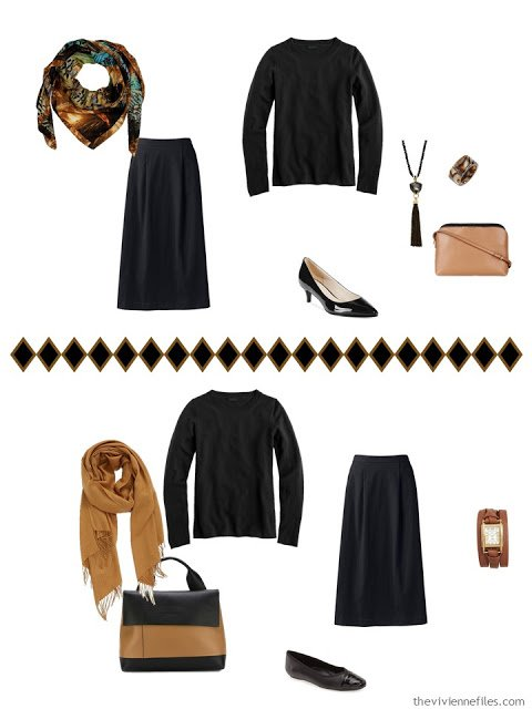black skirt and top, accessorized two different ways from a camel accessory capsule