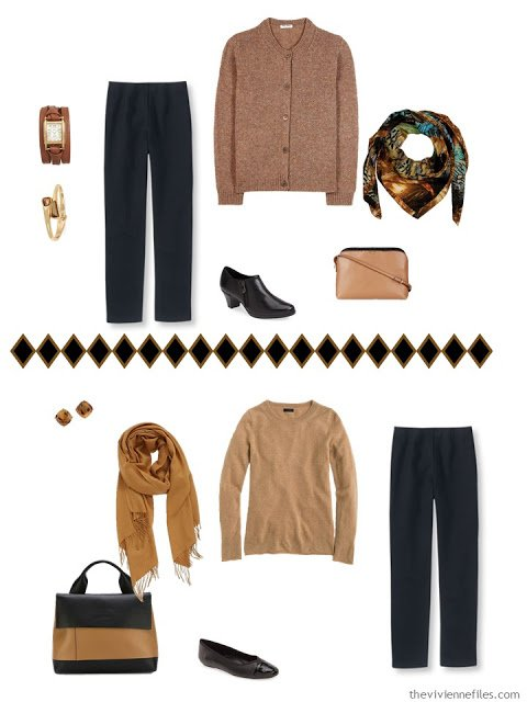 black pants worn 2 different ways with a camel sweater
