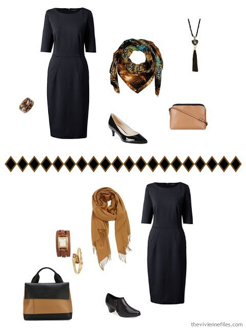 black dress with camel and black accessories - 2 different ways