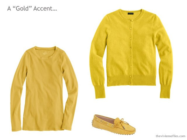 A tee shirt, cardigan and pair of loafers in mustard/gold
