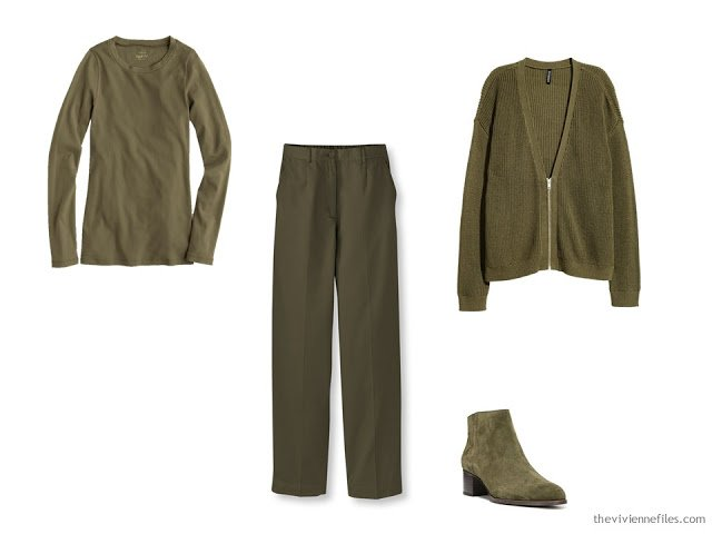 Olive green foundation capsule wardrobe