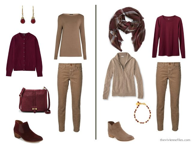 Capsule wardrobe colour palette inspiration - a drop of wine with camel