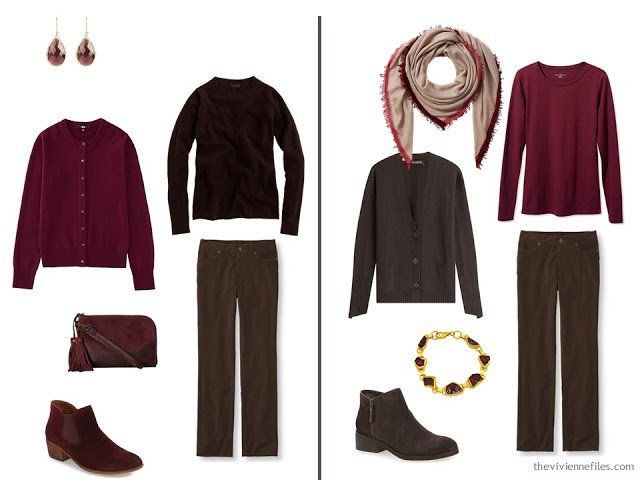 Capsule wardrobe colour palette inspiration - a drop of wine with brown