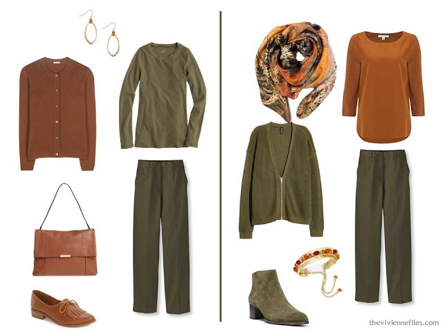 Capsule wardrobe colour palette inspiration - a dash of cinnamon with olive