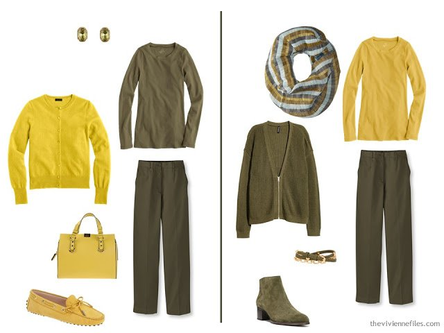 Wearing mustard and olive green together - 2 ideas