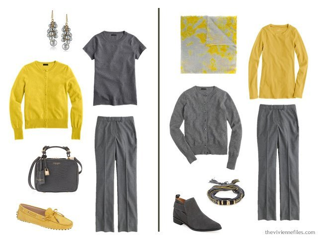 Wearing mustard and grey together - 2 ideas