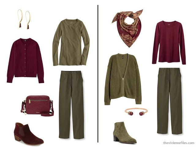 Capsule wardrobe colour palette inspiration - a drop of wine with olive