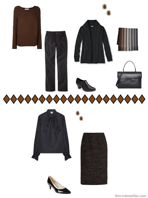 How to wear brown and black together - 2 outfits