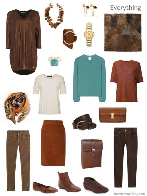 seven-piece travel capsule wardrobe in shades of brown, russet, jade green and ivory