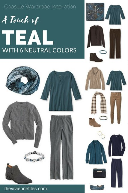 Capsule wardrobe colour palette inspiration - a touch of teal with 6 neutral colors
