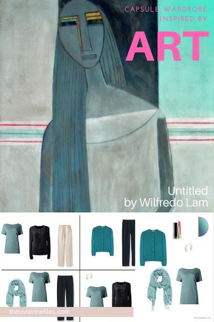 Capsule wardrobe color palette in grey and teal, inspired by Art: Untitled by Wilfredo Lam